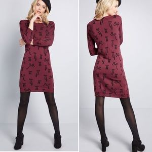 NWOT ModCloth Knit the Mark Bows Sweater Dress